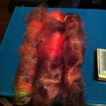 Carding at Madrona Fiber Arts Show in February 2013